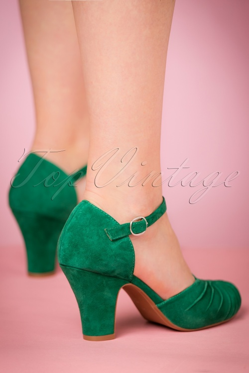Suede Pumps Miss Green Mary Jane Emerald Amber In Fire L 40s sdCtQhr