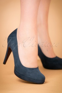 50s Classy Suedine Heart Sole Pumps in Navy