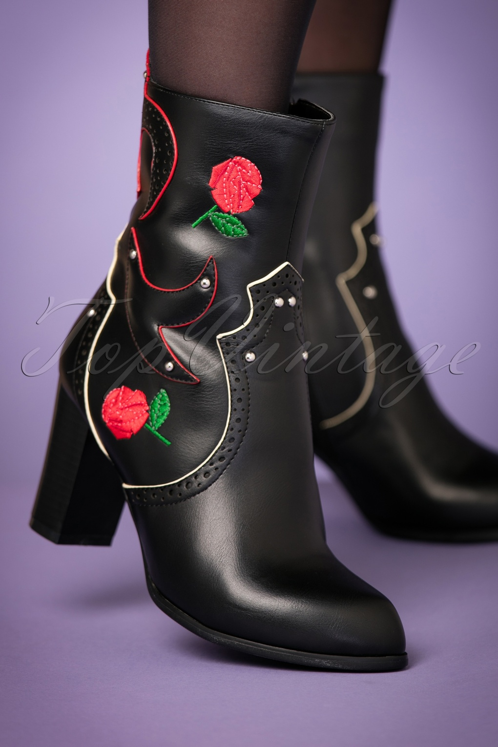 1960s Style Shoes 70s Wildheart Ankle Booties in Black £94.70 AT vintagedancer.com