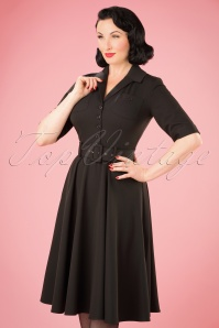 Collectif Clothing Zoe Plain Black Swing Dress 102 10 22112 20170915 0011w