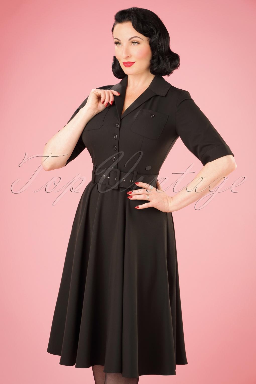 50s Zoe Swing Dress In Black
