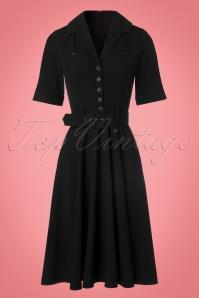 Collectif Clothing Zoe Plain Black Swing Dress 102 10 22112 20170915 0005w
