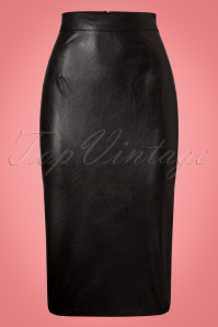 Collectif Clothing Polly PU Pencil Skirt 21884 20170606 0009w