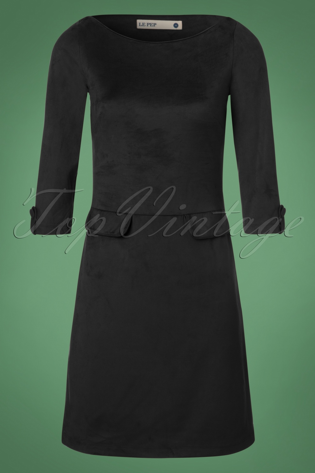 1960s Inspired Fashion: Recreate the Look 60s Dallin Suedine Dress in Black £97.03 AT vintagedancer.com