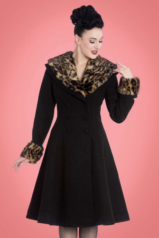 1950s Shorts History | Summer Clothing 50s Feline Leopard Swing Coat in Black £123.51 AT vintagedancer.com