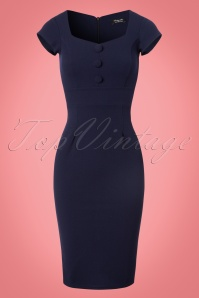 50s Sandy Sweet Heart Pencil Dress in Navy