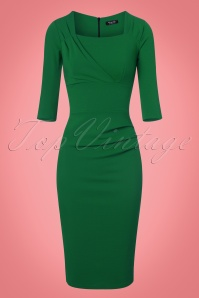 Vintage Chic Green Scuba Crepe Pencil Dress 100 40 23153 20170918 0004w