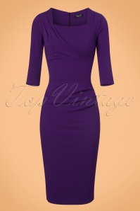 Vintage Chic Purple Scuba Crepe Pencil Dress 100 10 22474 20170918 0004w