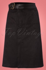 70s Damai Suedine Pencil Skirt in Black