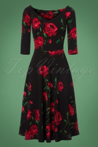 Vintage Chic Waterfall Crepe Dress with Roses 102 14 22518 20170918 0002w