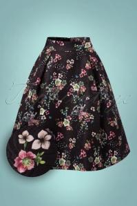 50s Oriental Botanical Skirt in Black