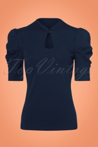 50s Dita Keyhole Top in Navy