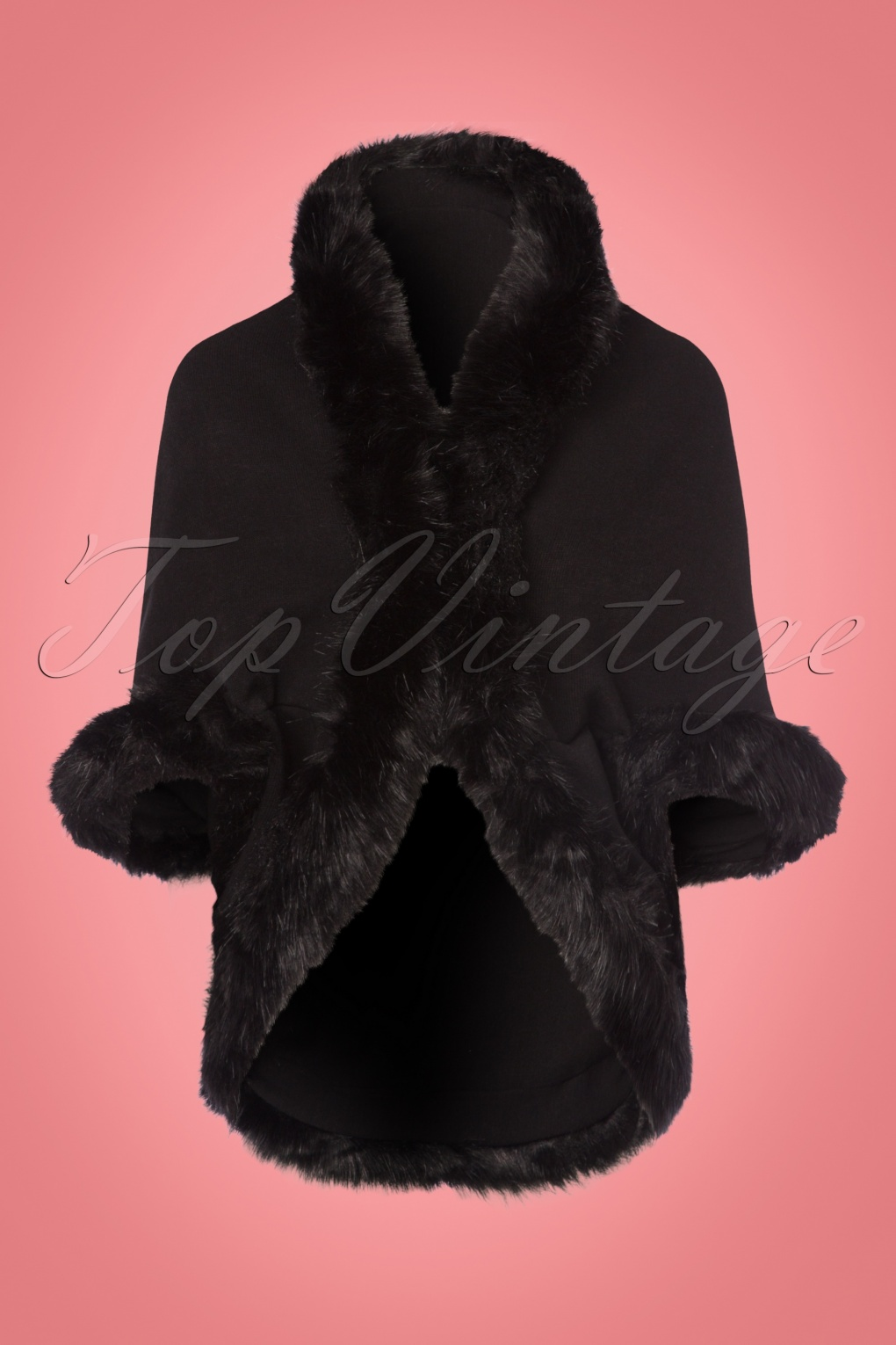 1950s Jackets and Coats | Swing, Pin Up, Rockabilly 50s Annie Faux Fur Cape in Black £53.29 AT vintagedancer.com