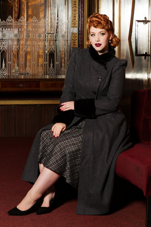 Vintage Style Coats, Jackets, Faux Fur, Tweed 40s Violet Fur Trim Dress Coat in Grey Wool £132.22 AT vintagedancer.com