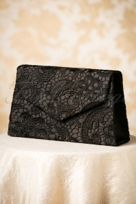 30s Elegant Evening Clutch with Black Lace
