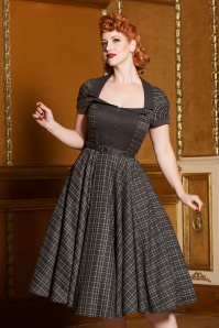 40s Ella Tartan Swing Dress in Grey