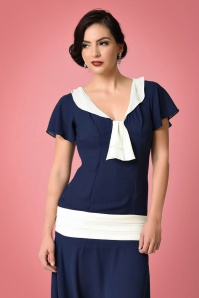 Unique Vintage 1920s Style Navy Blue Ivory Wilshire Chiffon Flapper Day Dress 100 31 22316 5