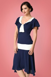 20s Wilshire Chiffon Flapper Dress in Navy