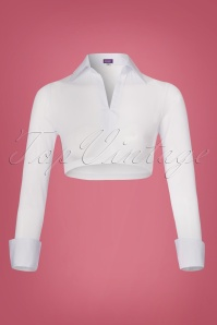 Cece Mesh Sleeves with Collar en Blanc