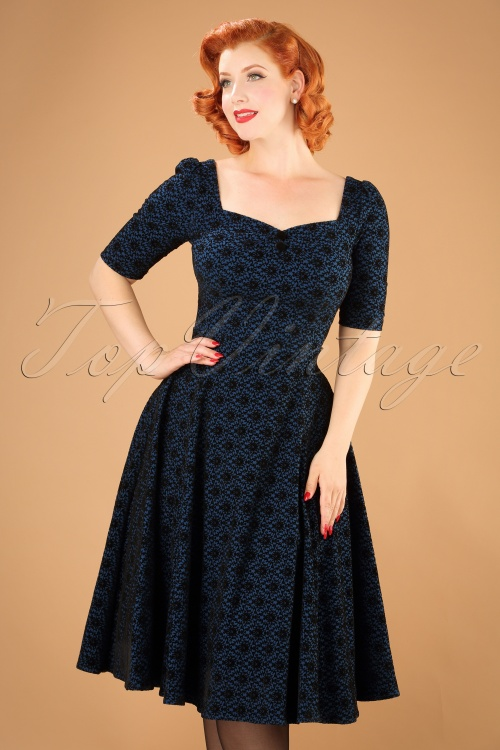 Collectif Clothing Dolores Doll Half Sleeve Brocade dress in Blue 21849 20170612 0017w