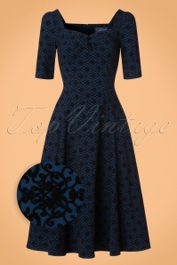 Collectif Clothing Dolores Doll Half Sleeve Brocade dress in Blue 21849 20170612 0016wv