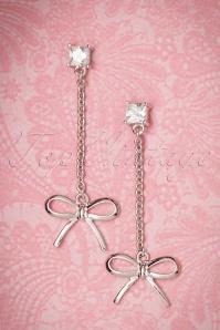 50s Delicate Bow Drop Earrings in Silver