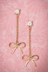 50s Delicate Bow Drop Earrings in Gold