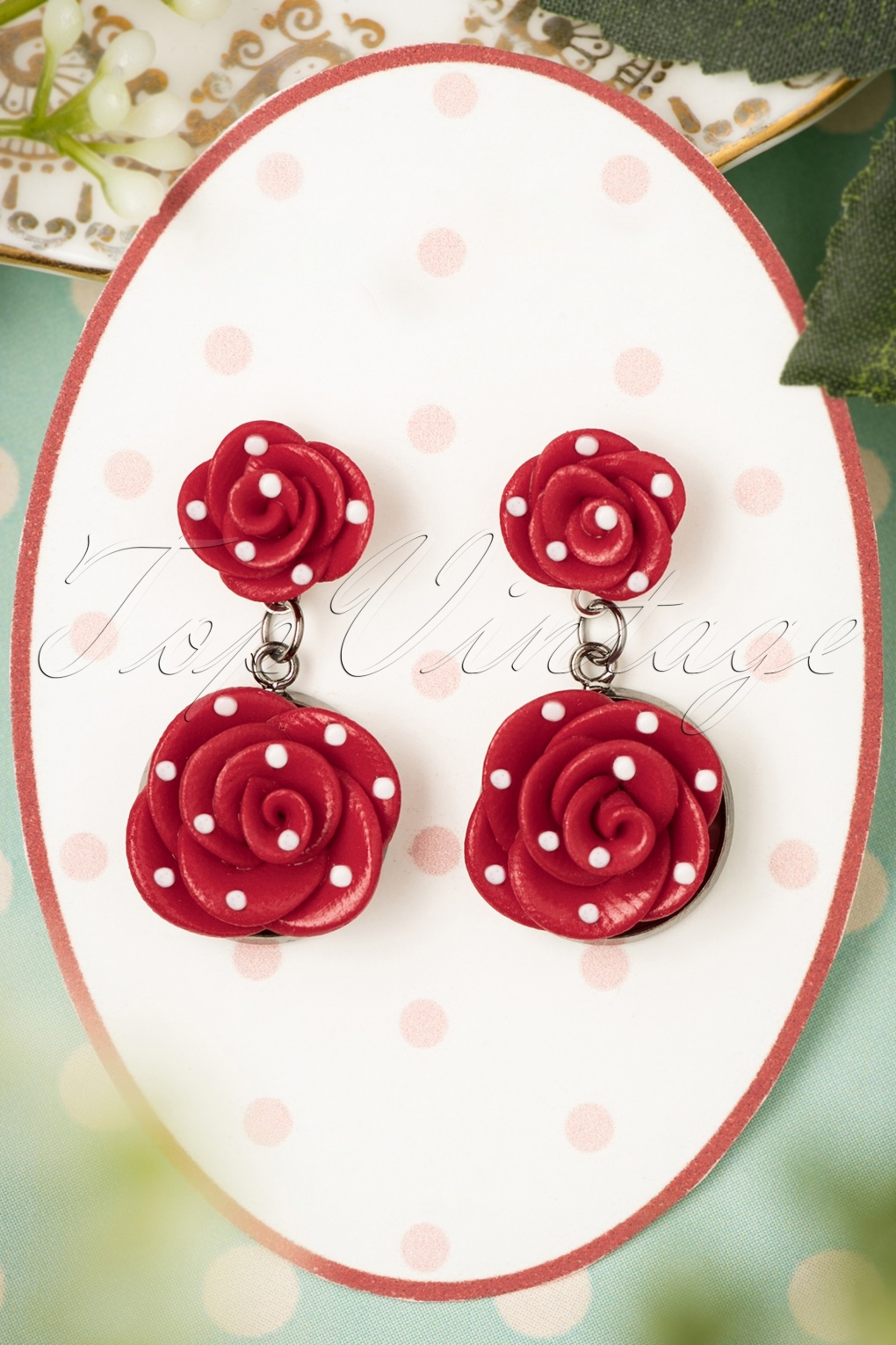 1940s Costume Jewelry: Necklaces, Earrings, Brooch, Bracelets 40s Romantic Red Roses Polkadot Earrings £13.28 AT vintagedancer.com