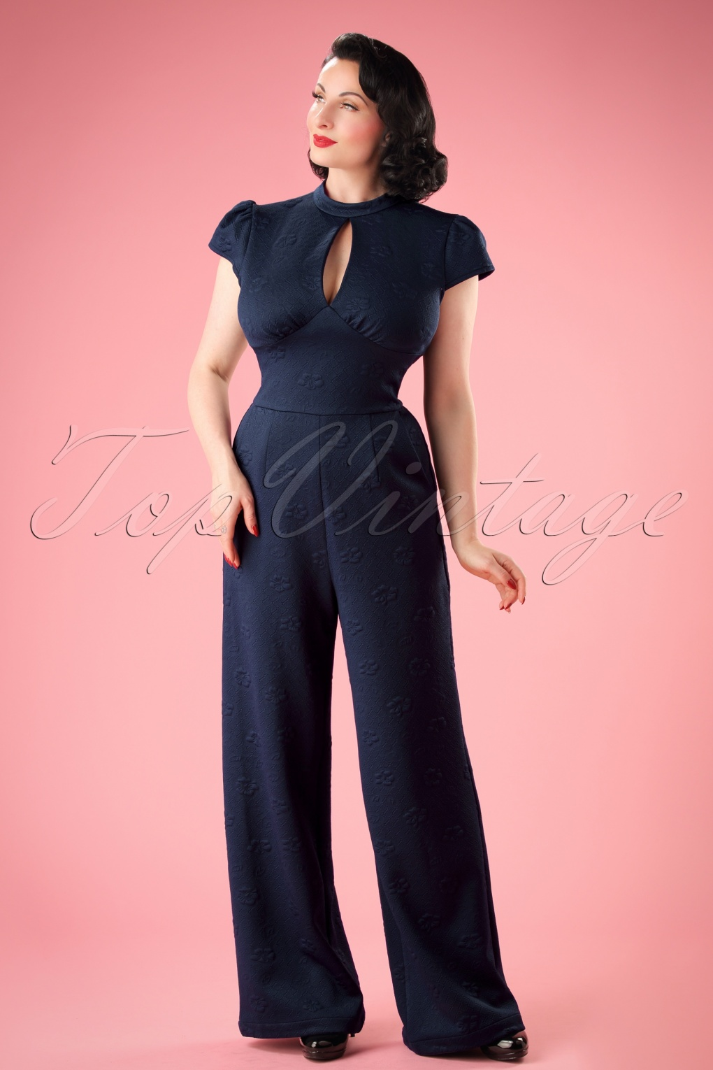 Vintage Overalls 1910s -1950s Pictures and History 40s Maude High Neck Jumpsuit in Blue £64.33 AT vintagedancer.com