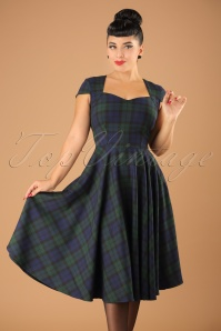 Aberdeen Swing Dress Années 1950 en Tartan Dublin