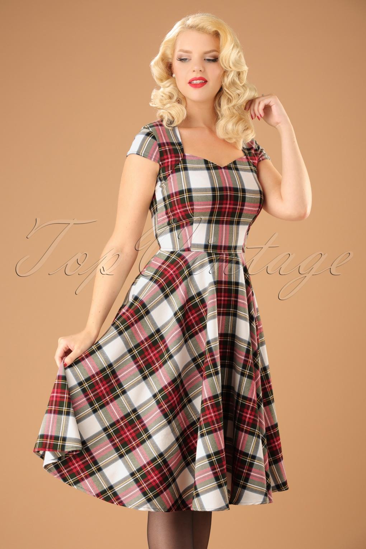 1950s Swing Dresses   50s Swing Dress 50s Aberdeen Swing Dress in Stewart Tartan £50.79 AT vintagedancer.com