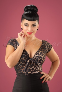 50s Feline Top in Leopard