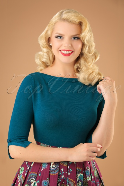 Banned Addicted Boatneck Bow Top in Teal 113 30 22287 20151202 0001w