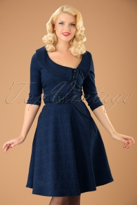 40s Lilly Swing Dress in Dark Blue