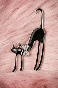 60s Diva Cat Brooch in Silver and Black