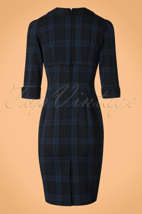 50s hamilton tartan pencil dress in navy