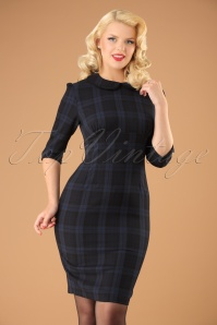 50s Hamilton Tartan Pencil Dress in Navy