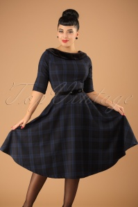 50s Livingston Tartan Swing Dress in Black and Navy