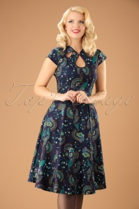 Banned Retro 50s Proud Peacock Swing Dress in Midnight Blue