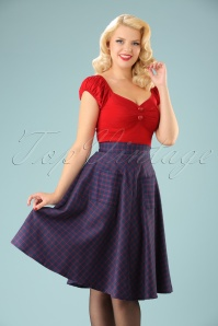 Dancing Days by Banned Red Blue Check Weekend Swing Skirt 122 39 22373 20170808 01w