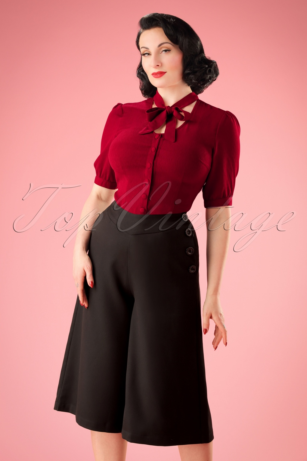 Vintage High Waisted Trousers, Sailor Pants, Jeans 30s Samantha Culottes in Black £35.23 AT vintagedancer.com
