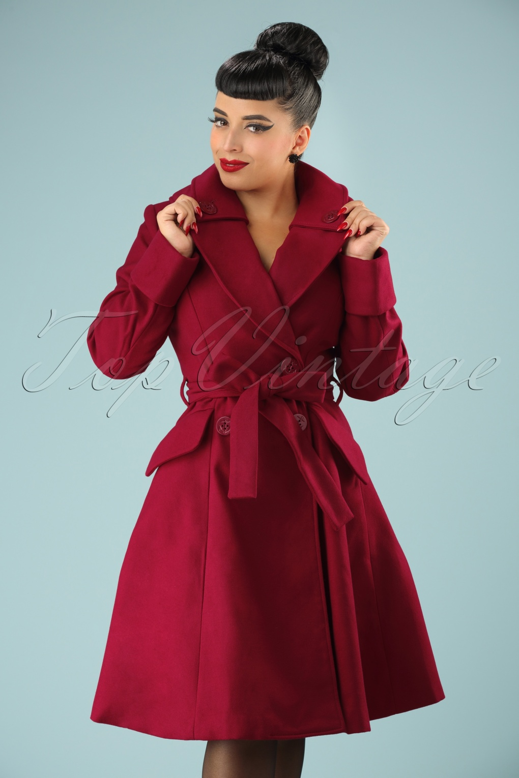 1950s Jackets and Coats | Swing, Pin Up, Rockabilly 50s Olga Coat in Burgundy £110.26 AT vintagedancer.com