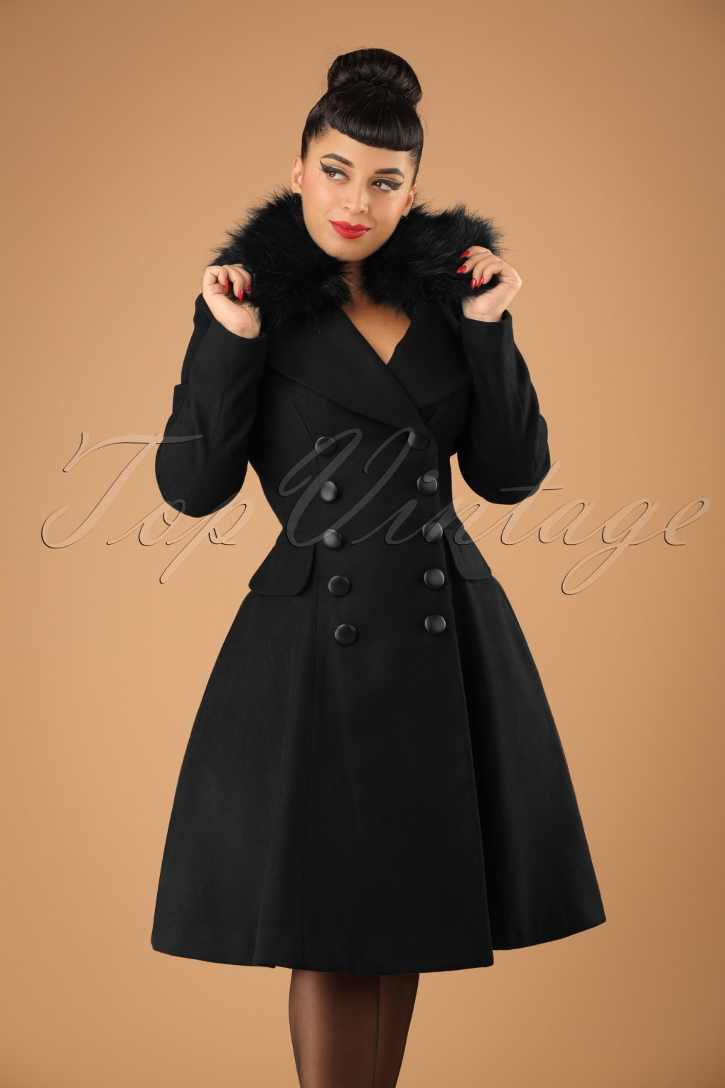 Vintage Coats & Jackets | Retro Coats and Jackets 50s Milan Coat in Black £112.20 AT vintagedancer.com