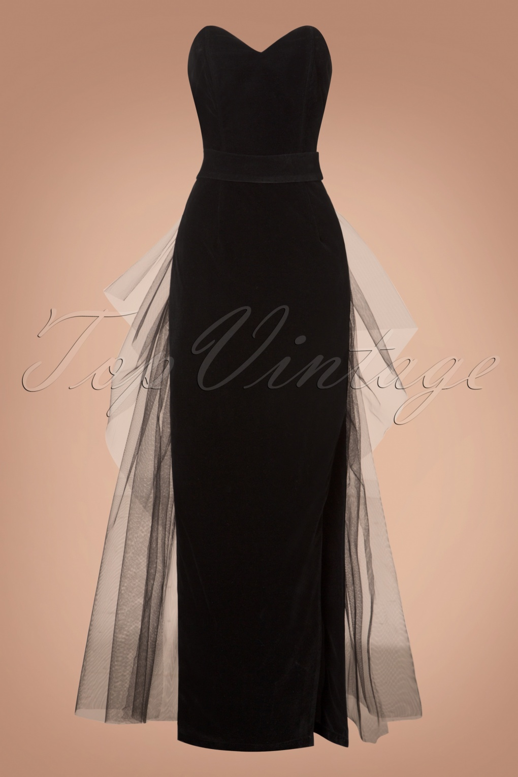 1950s Prom Dresses & Party Dresses 50s Doris Velvet Maxi Dress in Black £83.73 AT vintagedancer.com
