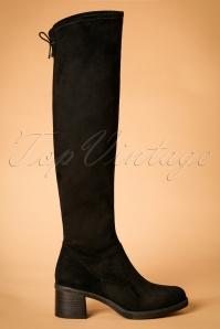 Patty Knee Height Suedine Boots Années 70 en Noir