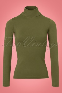 60s Tova Turtleneck Top in Olive