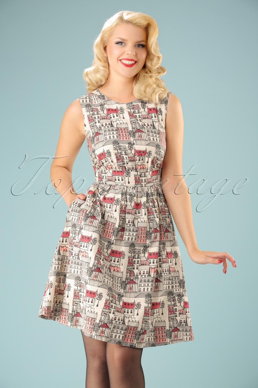 50s Lucy Paris Streets Dress In Cream