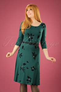 60s Blake Leaves Swing Dress in Fall Green
