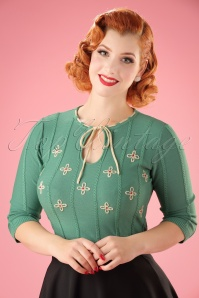 50s Fearne Floral Sweater in Green
