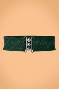Collectif Clothing Nessa Cinch Stretch Belt Années 50 en Vert